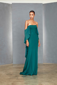 P357 - Off-the-shoulder Cape Gown