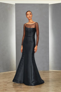 P362M - Tulle Boat Neck Gown
