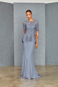 P364 - Lace Peplum Gown