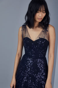 P376 - Sequin embroidered A-line gown