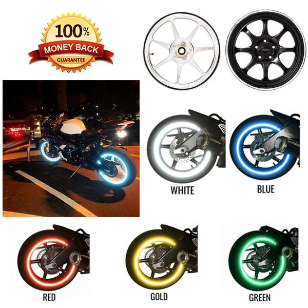 16 Strips Wheel Sticker Reflective Rim Stripe Tape (Fit for 17/18 Inch)
