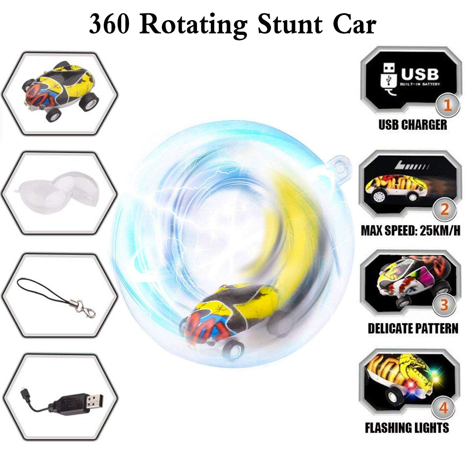 (Best Gift!)MINI 360 ROTATING LASER CHARIOT HIGH-SPEED CAR TOYS