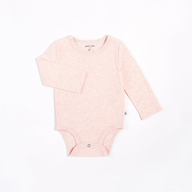 Heather Pink Long-Sleeve Onesie | Petit Lem