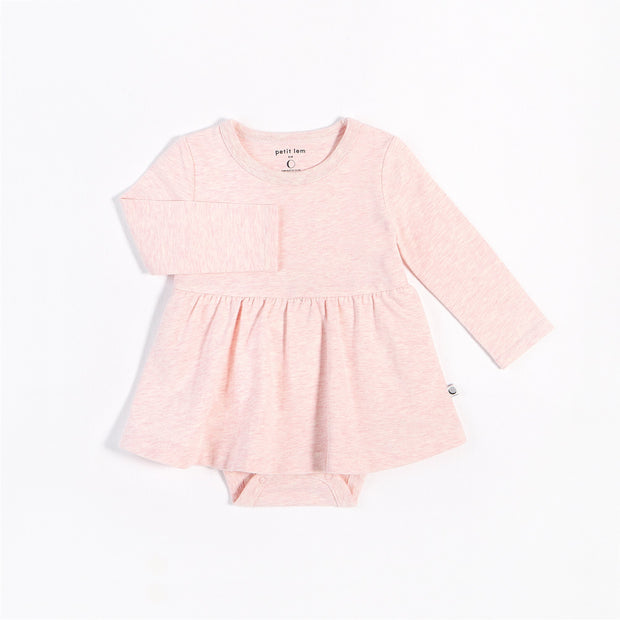 Heather Pink Long-Sleeve Peplum Onesie | Petit Lem