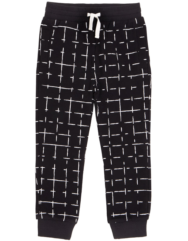 Black and White Grid Joggers | Miles New Basic