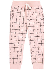 Light Pink Grid Joggers | Miles New Basic