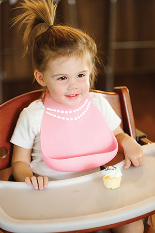 Soft Baby Bib | Pink Breakfast At Mom's, Baby Bibs, Make My Day, Inc - O&Lo