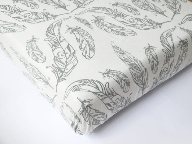 Fitted Crib Sheet | Feather White, Crib Sheets, Nest Designs - O&Lo