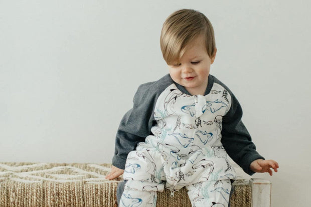 Raglan Bamboo Long Sleeve Sleep Suit | Orca White 2.5 TOG