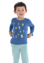 Bamboo Long Sleeve Tee | Cobalt, Long Sleeves, Silkberry Baby - O&Lo