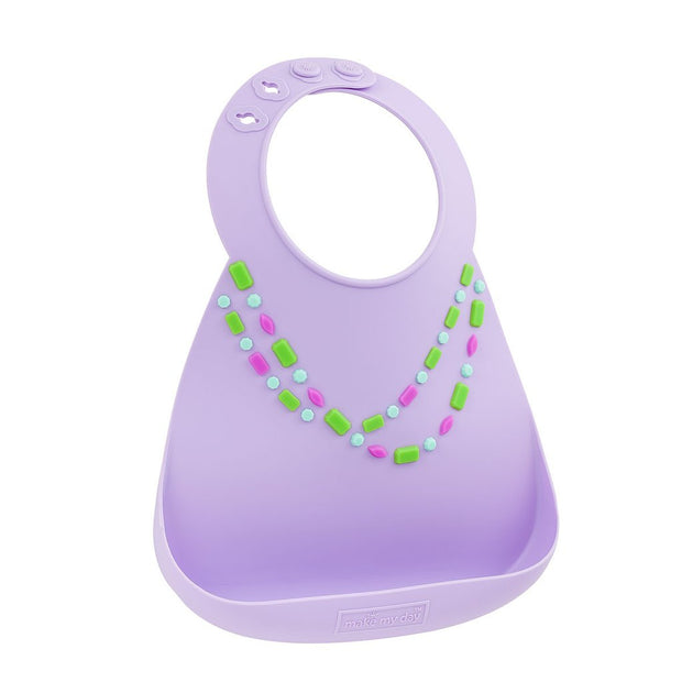 Soft Baby Bib | Lilac with Jewels, Baby Bibs, Make My Day, Inc - O&Lo