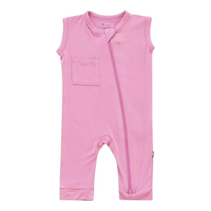 Bamboo Zipper Sleeveless Romper | Bubblegum