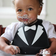 Soft Baby Bib | Black Tuxedo, Baby Bibs, Make My Day, Inc - O&Lo