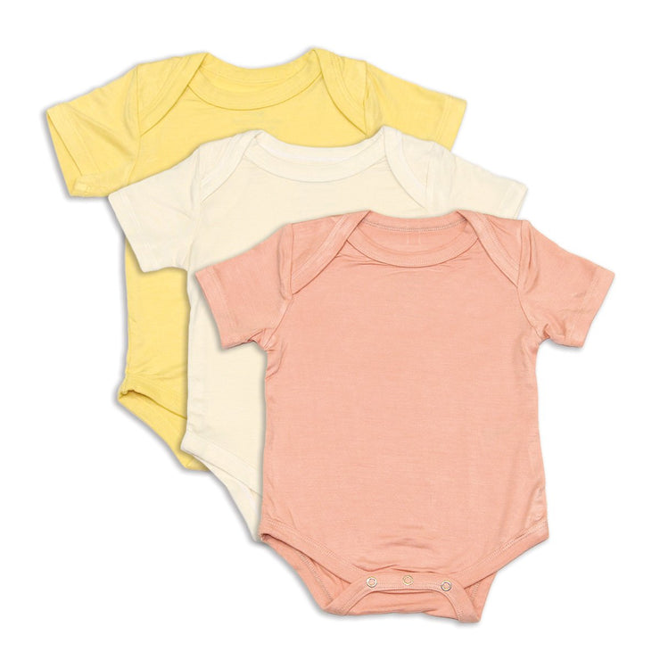 Bamboo Onesies | 3 pack (Feather/Dusty Rose/ Sunshine)