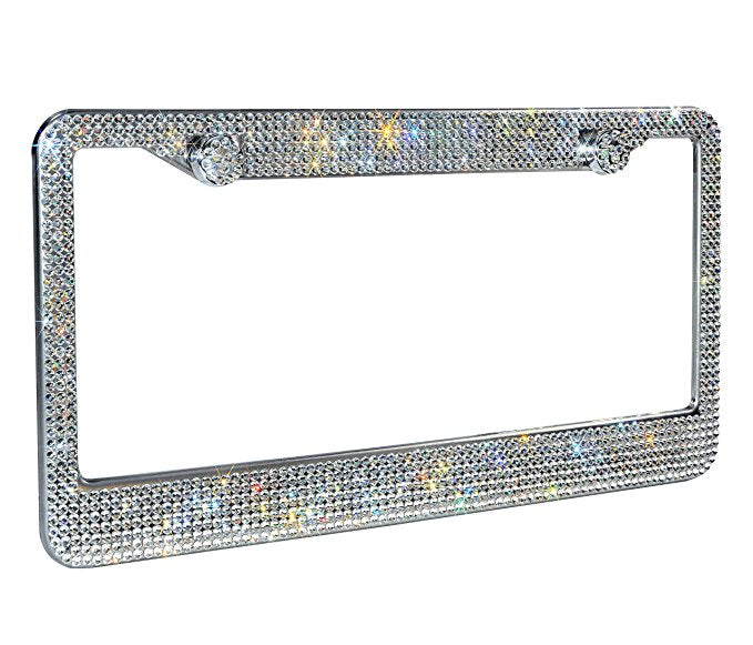 Luxury Handcrafted Bling  Rhinestone Stainless Steel License Plate Frame (2 Pack)