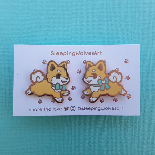 Shiba Inu Puppy Collar Pins - Red Mint