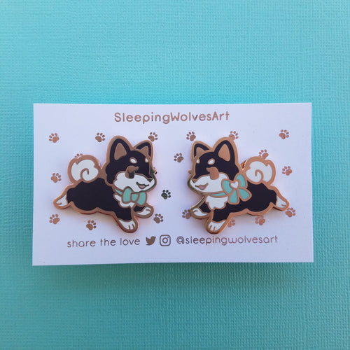 Shiba Inu Puppy Collar Pins - Black Mint