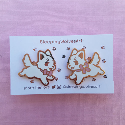 Pastel Puppy Collar Pins - Pink