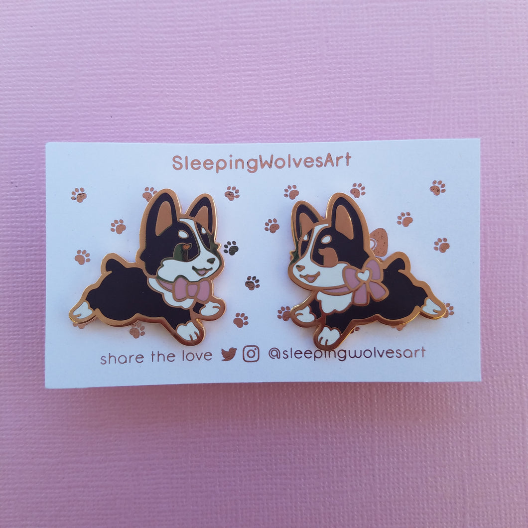 Corgi Puppy Collar Pins - Black Pink