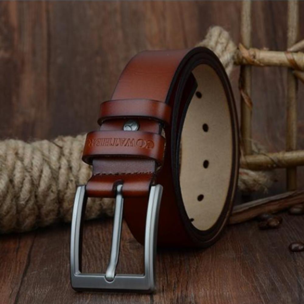 COWATHER 2017 men belt cow genuine leather luxury strap male belts for men new fashion classice vintage pin buckle dropshipping - TendanceBoutique.fr