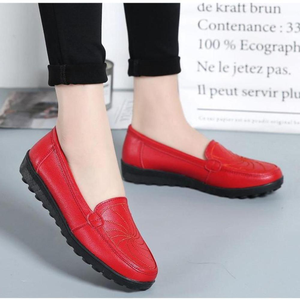 O16U 2018 Women Ballet Flats Shoes Genuine Leather Slip on Loafers Women Moccains Summer Shoes Black Casual Shoes Flat Ladies - TendanceBoutique.fr