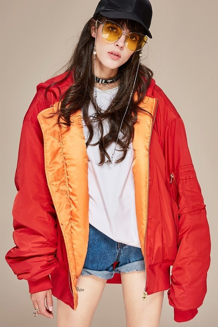 JAZZEVAR new winter high fashion street women's hooded bomber jacket coat oversize X-Long sleeves Cotton Padded warm outwear - TendanceBoutique.fr
