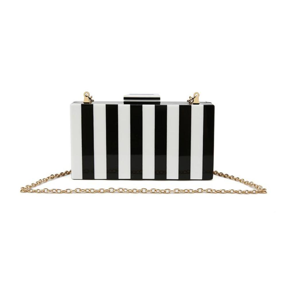 White Black Striped Solid Acrylic Clutch Box Purse Bags Brand design women shoulder bag Women's Totes Shopping Bag bolsa feminin - TendanceBoutique.fr