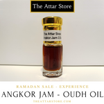 2.5 millilitre glass attar (arabian/eastern perfume) bottle of angkor jam oudh oil from thailand, cambodia and laos. used as perfume, fragrance and for aromatherapy. Artisanal essential oil released by the attar store.