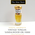 2.5 millilitre glass attar (arabian/eastern perfume) bottle of vintage 20 year old tongan island sandawood oil used as perfume, fragrance and for aromatherapy. Artisanal essential oil  released by the attar store.