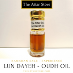 2.5 millilitre glass attar (arabian/eastern perfume) bottle of pure malaysian oudh oil  from borneo, used as perfume, fragrance and for aromatherapy. Artisanal essential oil released by the attar store.