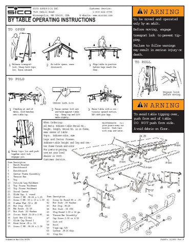 Sico Parts List for BY65 Rectangle Bench Tables