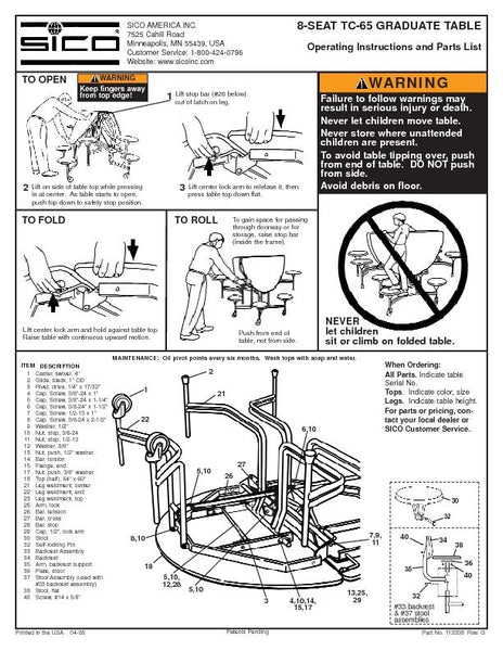 Sico Parts List for Graduate 8 Stool Tables