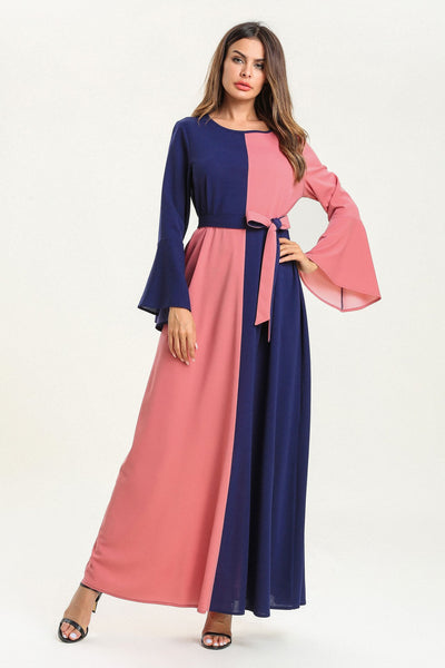 pink blue waist tie bell sleeve abaya muslim dress