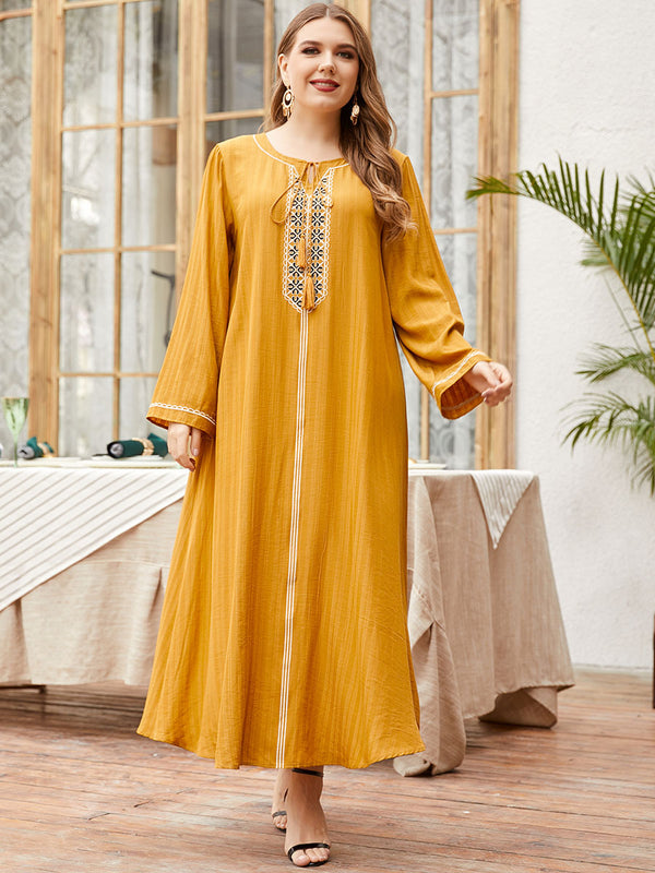 Plus Size Yellow Ethnic Abaya