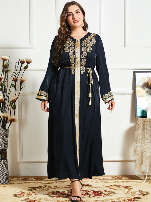 Plus Size Gold Black Formal Abaya