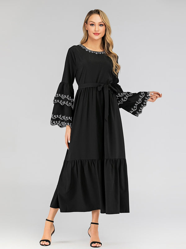 Hessa White Scallop Embroidery Bell Sleeve Waist Tie L/S Maxi Dress - Plus Size Hijab Muslim Fashion Abaya Jubah Dresses Singapore Malaysia Brunei Online