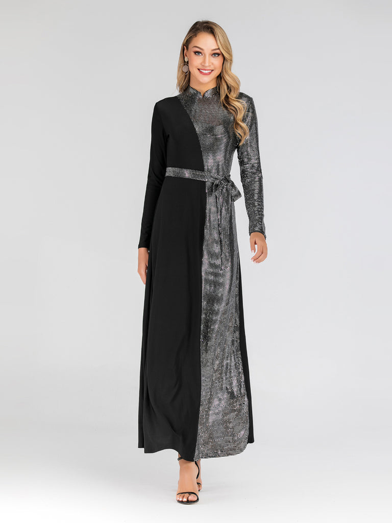 Hibba Qipao Cheongsam Mandarin Collar Sequin Colourblock Evening Party L/S Maxi Dress - Plus Size Hijab Muslim Fashion Abaya Jubah Dresses Singapore Malaysia Brunei Online