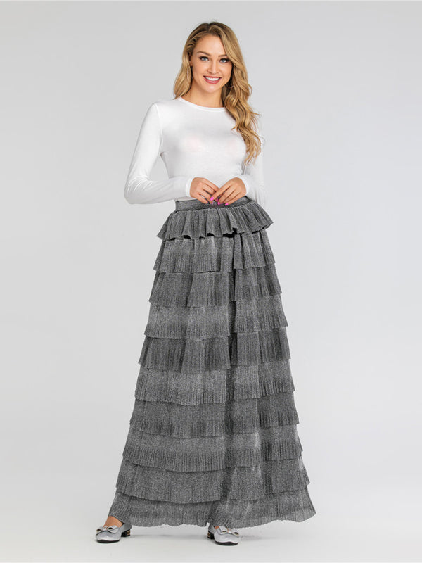Henna Tier Cake Shimmer Maxi Skirt (Khaki, Grey, Black)