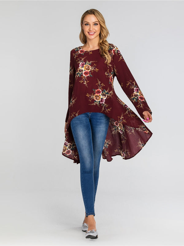 Heela Floral Print Fishtail Longer Back L/S Blouse