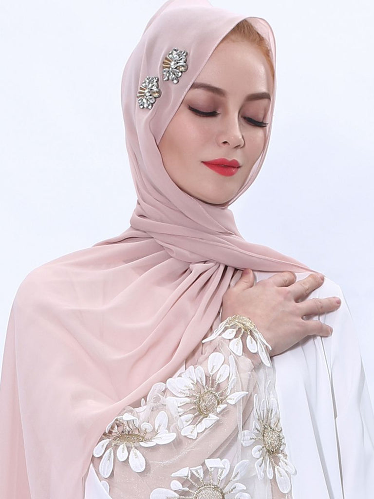 Nakia Hijab Scarf With Double  Flower Rhinestones