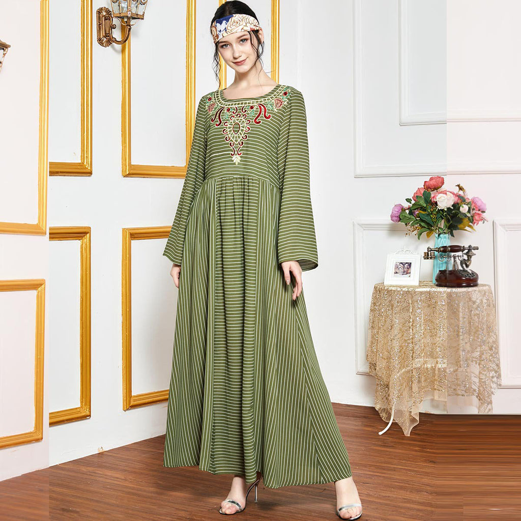 Quraybah Plus Size Green Stripes Embroidered Muslimah Dress