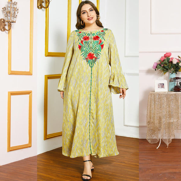 Nusrah Plus Size Embroidered Nature Abaya