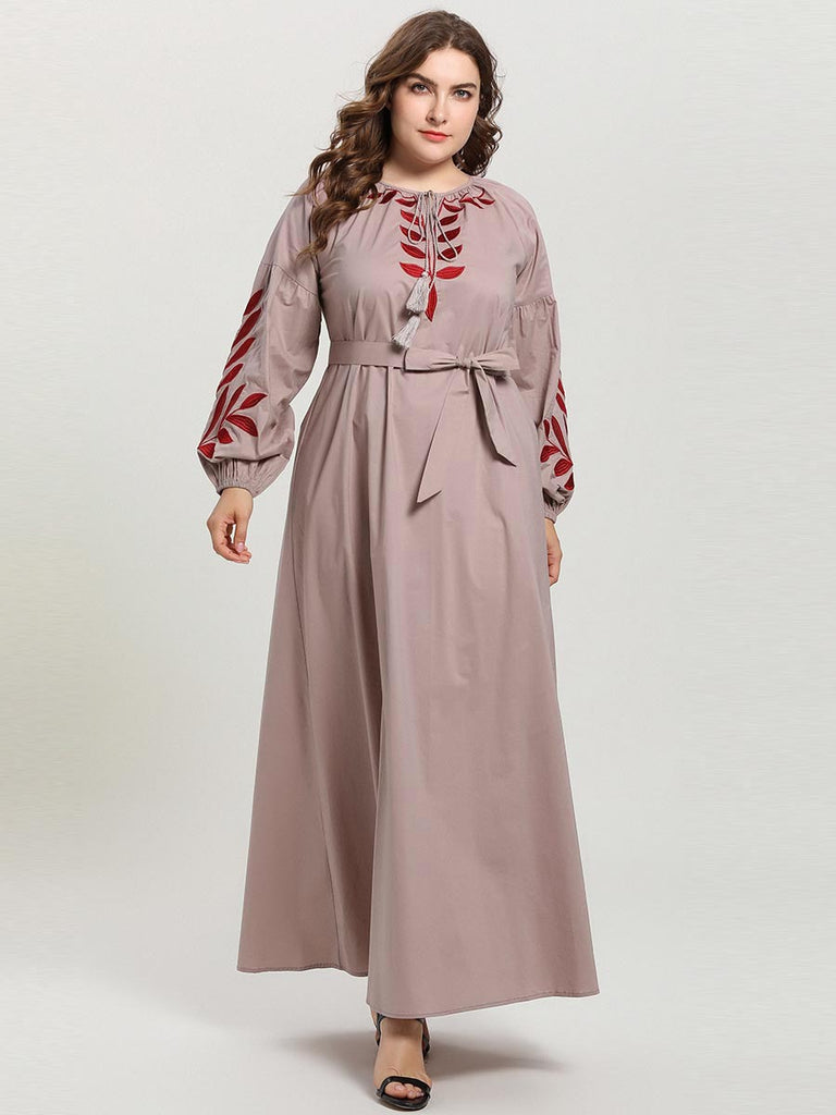 Rabitah Plus Size Khaki Embroidered Abaya