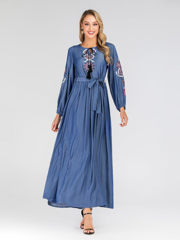 Haziqah Denim Ethnic Embroidery Tassel L/S Maxi Dress