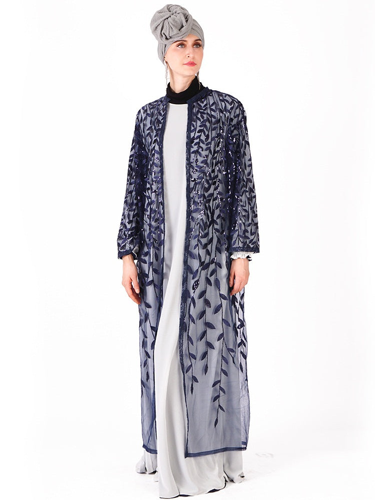 Nazneen Plus Size Wedding Occasion  Muslimah Sequin Leafs Open Jacket (Silver, Black, Black With Silver Blue, Red, Gold)