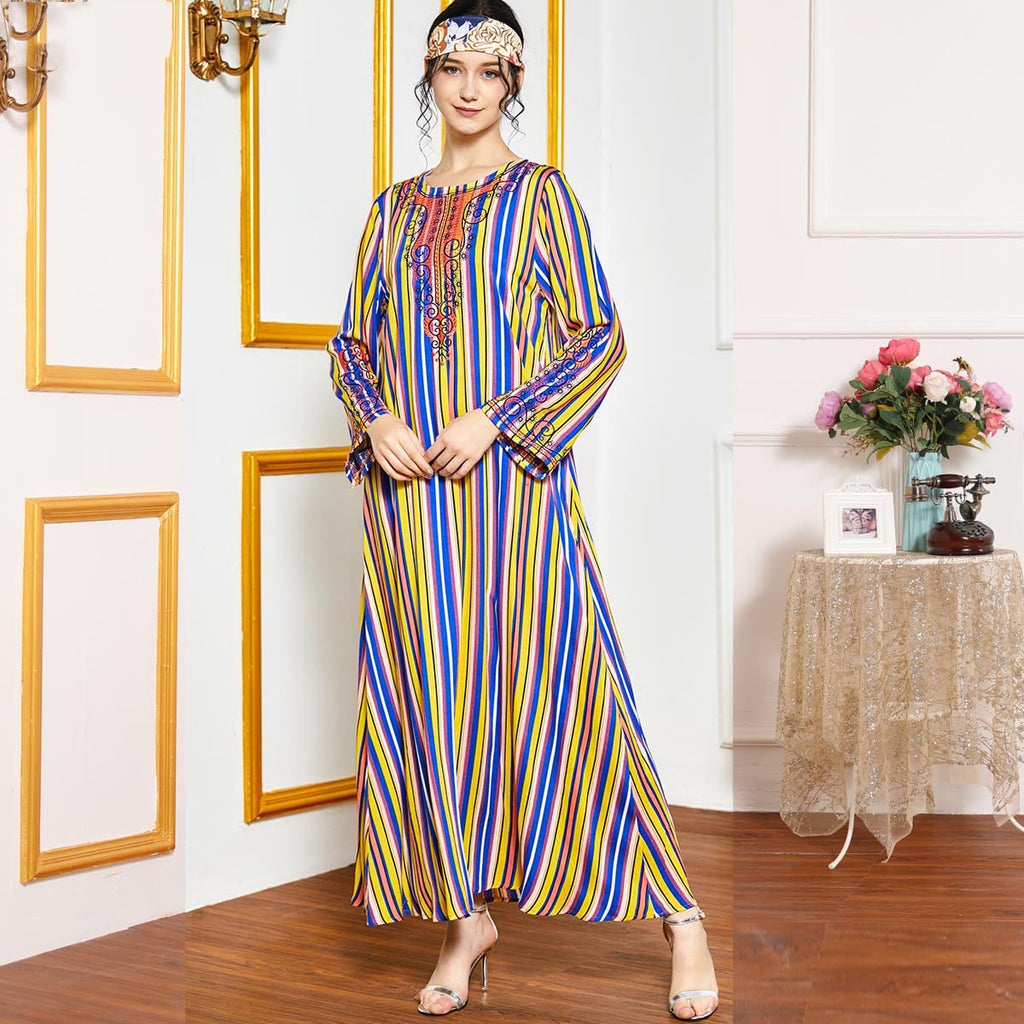 Qurrat-ul-ain Plus Size Rainbow Stripes Muslimah Dress