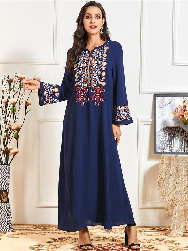 Nusrat Plus Size Blue Embroidery Muslimah Dress