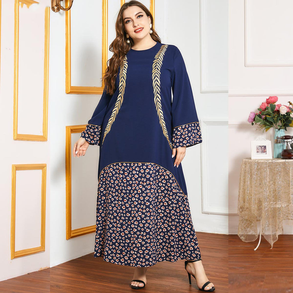 Qailah Plus Size Navy Blue Gold Embroidery Print Abaya
