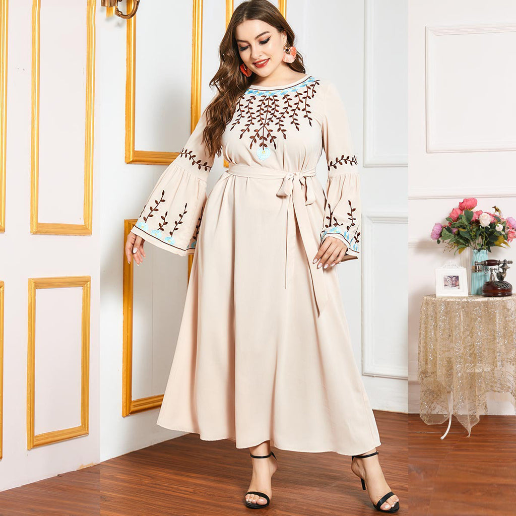Noureen Plus Size Floral Embroidery Bell Sleeve Abaya Muslimah Dress