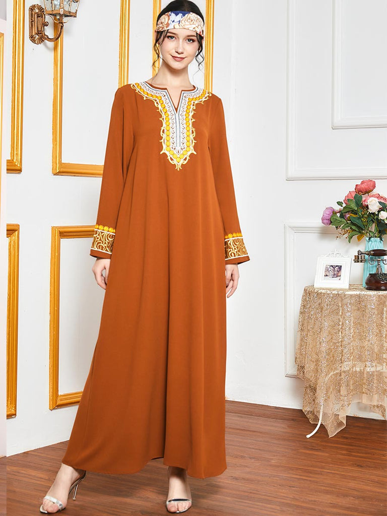 Noor-Al-Haya Plus Size Embroidered Muslim Dress Abaya